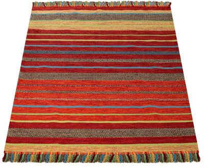 Teppich »Kilim 213«, Paco Home, rechteckig, Höhe 8 mm, hangefertigter Web-Teppich mit Fransen, Wohnzimmer