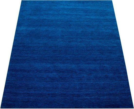 Teppich »Atlas 100«, Paco Home, rechteckig, Höhe 14 mm, Kurzflor-Gabbeh, aus Baumwolle Einfarbig, Wohnzimmer