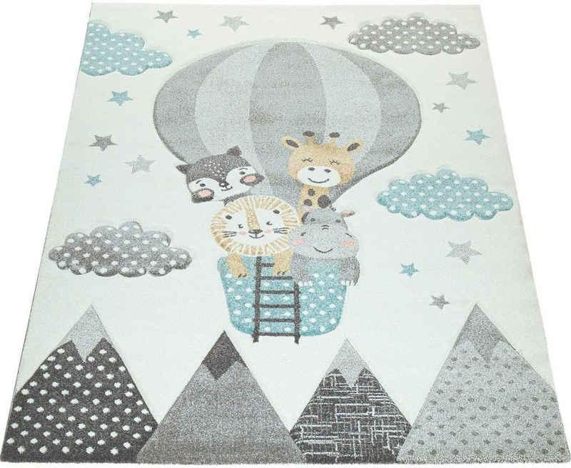 Kinderteppich »Cosmo 343«, Paco Home, rechteckig, Höhe 12 mm, Kinder Design, niedliches Tier-Motiv in Pastell-Farben, Kinderzimmer