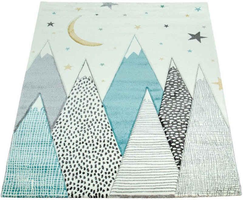 Kinderteppich »Cosmo 707«, Paco Home, rechteckig, Höhe 13 mm, Kinder Design, niedliches Berg-Motiv in Pastell-Farben, Kinderzimmer