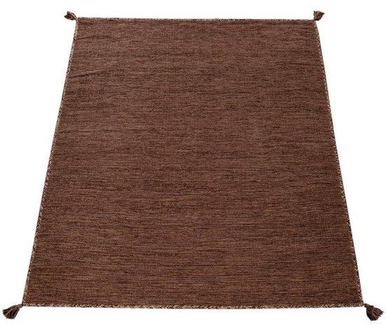 Teppich »Kilim 210«, Paco Home, rechteckig, Höhe 13 mm, hangefertigter Web-Teppich mit Fransen, Wohnzimmer