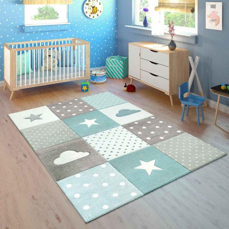 Kinderteppich »Cosmo 755«, Paco Home, rechteckig, Höhe 18 mm, Kinder Design, Stern Motiv in Pastell-Farben, Kinderzimmer