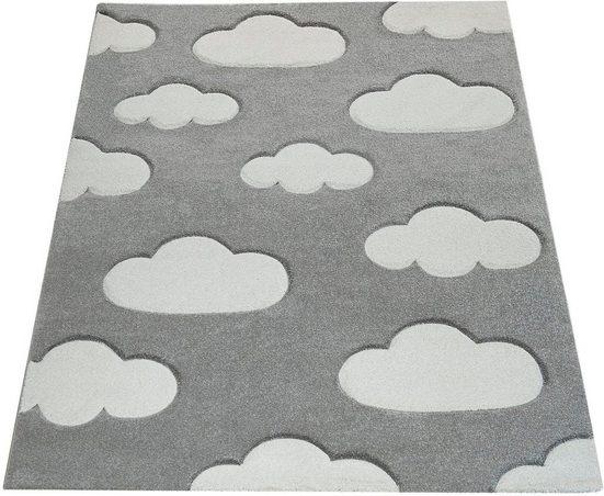 Kinderteppich »Cosmo 342«, Paco Home, rechteckig, Höhe 18 mm, Kinder Design, niedliches Wolken Motiv, Pastell-Farben