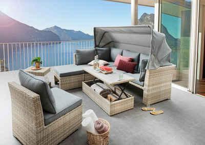 Destiny Loungeset »ARUBA III«, (20-tlg), mit verstellbarem Tisch,beige meliert, Polster grau, pflegeleichtes, UV beständiges Polyrattan