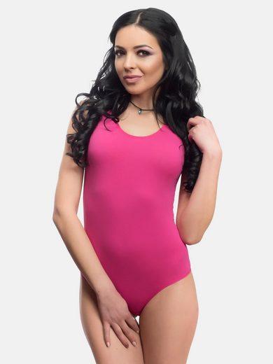 Evoni Body Damen Bodysuit ärmellos aus Baumwolle blickdichtes Trägertop
