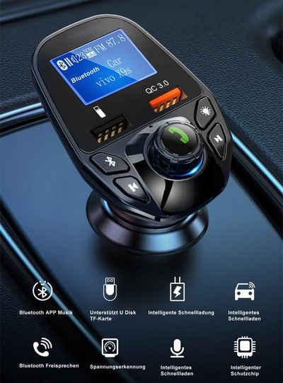 7Magic »Bildschirmanzeige Kfz Radio Adapter« KFZ-Transmitter USB-C, Auto Bluetooth 5,0 QC3.0 USB Ladegerät Handy SD