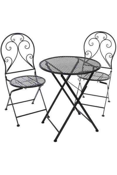 elbmöbel Gartenmöbelset »Bistroset Bistrotisch 2 Stühle aus Metall schwarz Sitzgarnitur Sitzgruppe Balkonset«, platzsparend verstaubar