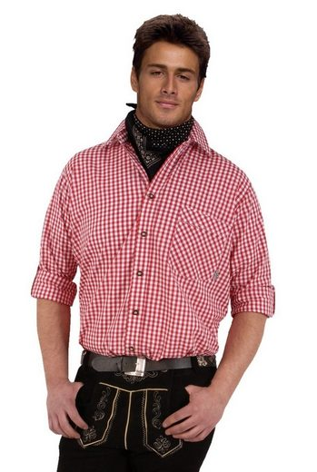 Moschen-Bayern Trachtenhemd »Trachtenhemd Herren EASY CARE kariert Wiesn-Hemd zur Lederhose Karo Herrenhemd Langarm Kurzarm Rot«