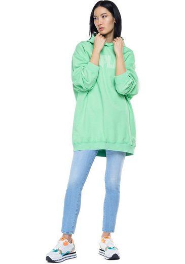Replay Sweater Vintage-Longsweater, Sweatkleid mit Kapuze & Used-Effekten - Bio-Baumwolle