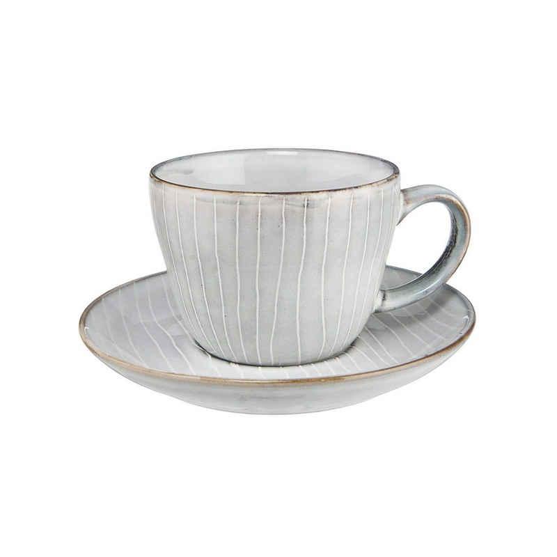 BUTLERS Tasse »HENLEY 4x Kaffeetasse mit Untertasse 270ml«, Steinzeug, reaktive Glasur