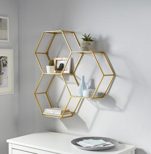 Leonique Wandregal »Hexagon«, bestehend aus drei sechseckigen Elementen, goldfarben, in modernem Design