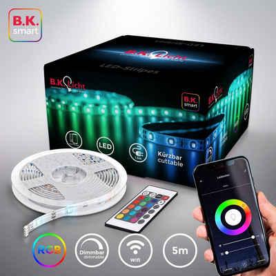 B.K.Licht LED-Streifen, 5m Smart Home LED Band dimmbar mit WiFi App-Steuerung