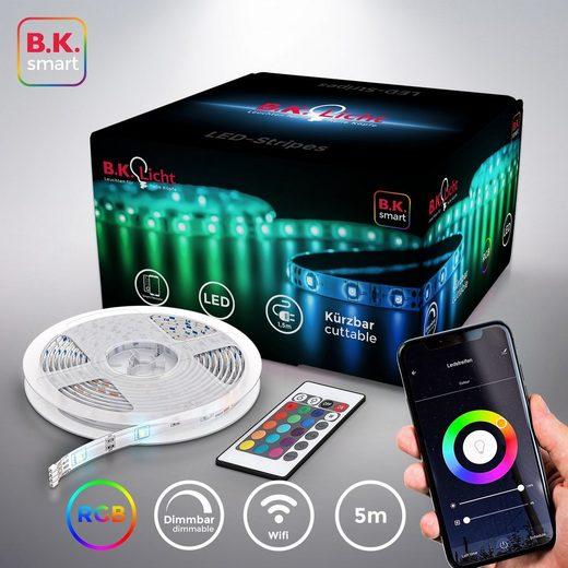 B.K.Licht LED-Streifen, 150-flammig, 5m Smart Home LED Band dimmbar mit WiFi App-Steuerung
