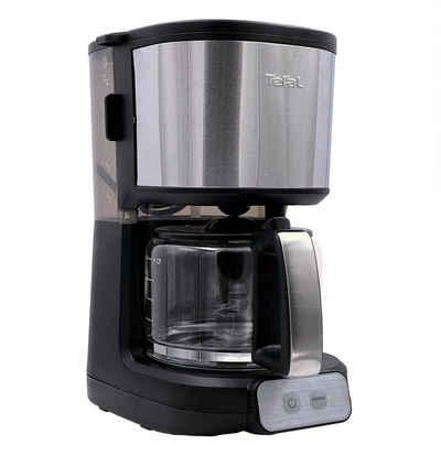 Tefal Filterkaffeemaschine Tefal Kaffeemaschine CM470810 für 10-15 Tassen, 1,25 Liter Glaskanne, 1.25l Kaffeekanne, Papierfilter, AromaPlus System, Schwenkbarer Herausnehmbarer Filtereinsatz, Aromataste für einen kraftvolleren und stärkeren Kaffee, Tropfstopp