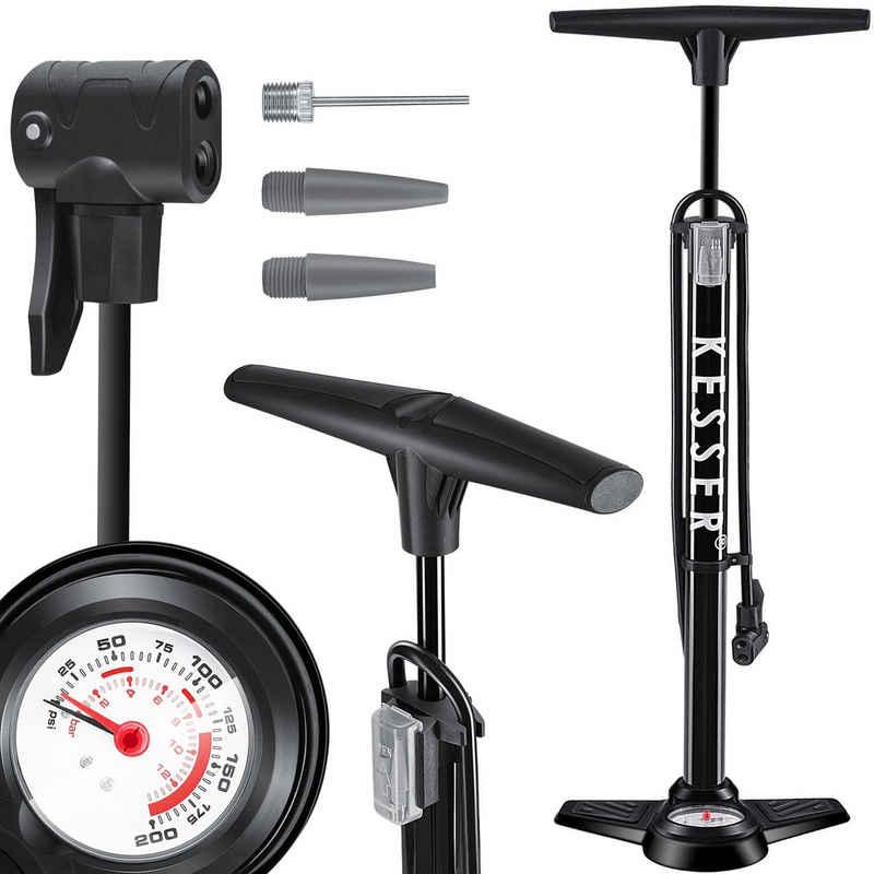 KESSER Luftpumpe, Standluftpumpe mit Manometer, Fahrrad-Luftpumpe Standpumpe passend für alle Ventile (AV, DV, SV,I) Doppelpumpenkopf, 3 Adaptern Rennrad, Mountainbike, Auto Reifen-Pumpe Universal