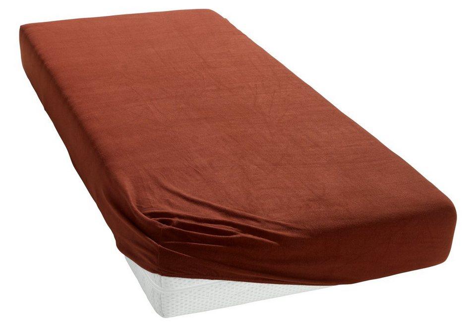 Spannbettlaken, my home, »Microfaser-Fleece«, mit flauschiger Oberfläche in schoko