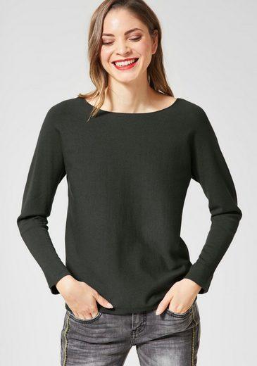 STREET ONE Rundhalspullover »Enisa«, Basic-Pullover mit langen Ärmeln