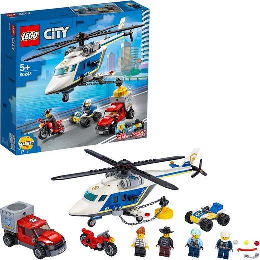 LEGO® Konstruktionsspielsteine »Verfolgungsjagd mit dem Polizeihubschrauber (60243), LEGO® City«, (212 St)