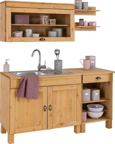 Home affaire Küchen-Set »Oslo«, (5-St), ohne E-Geräte, Breite 150 cm, aus massiver Kiefer, 23 mm starke Arbeitsplatte, mit Metallgriffen, Landhaus-Küche