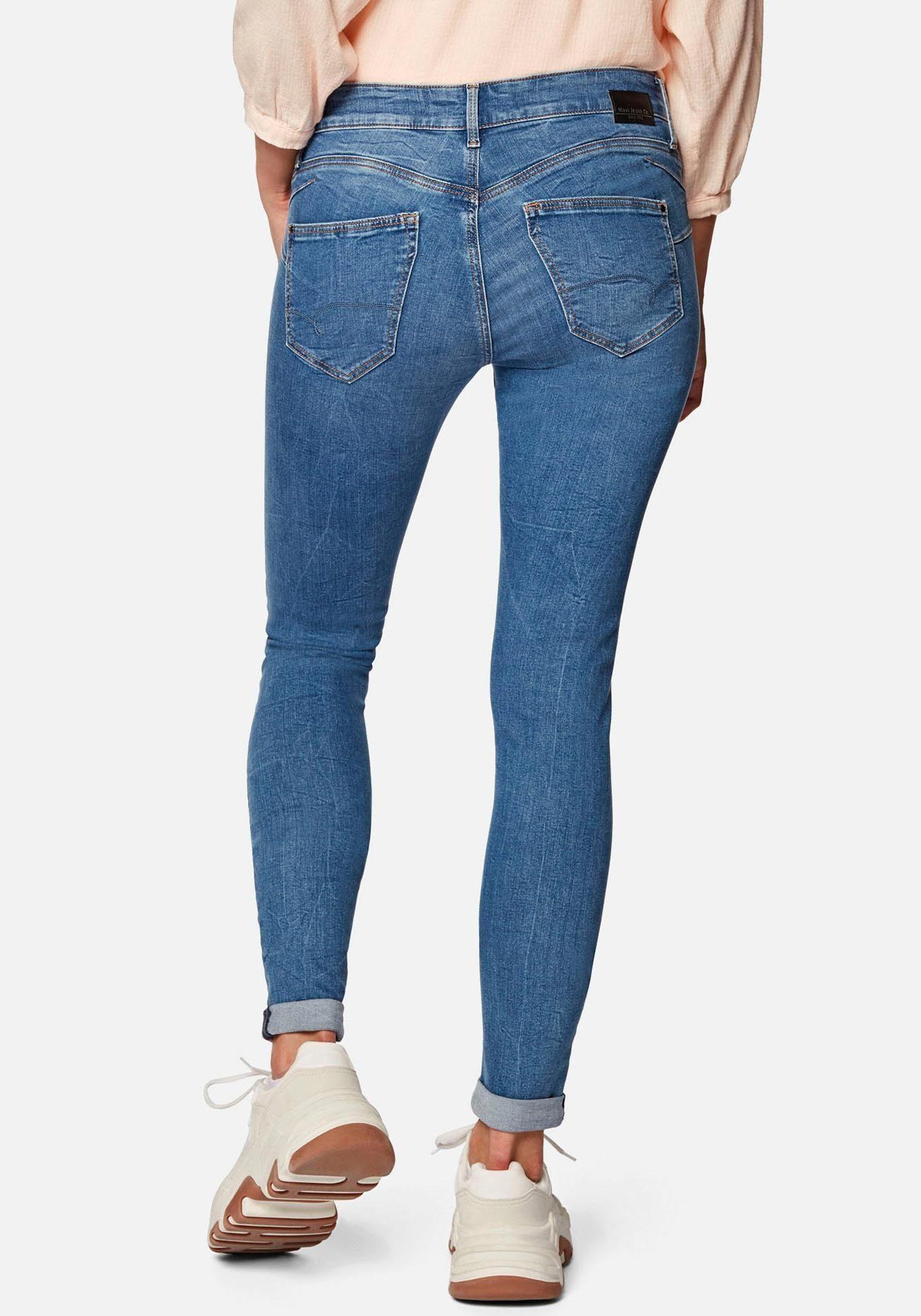Damen High Waist Skinny Hüft Jeans Hose mit Glamour-Effekt in light blue