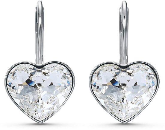 Swarovski Paar Ohrhänger »Bella Heart, weiss, rhodiniert, 5515191«, mit Swarovski® Kristallen