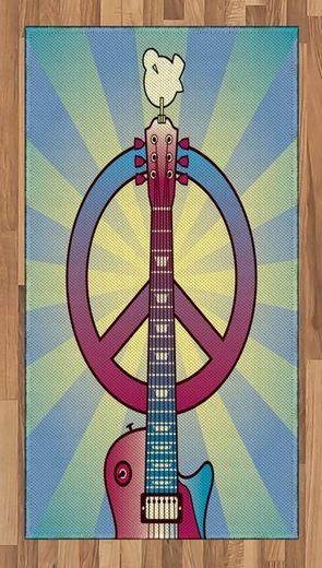 Teppich »Flachgewebe Deko-Teppiche für das Wohn-,Schlaf-, und Essenszimmer«, Abakuhaus, rechteckig, Hippie Woodstock Music Theme