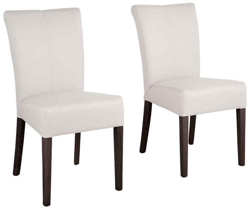 Home affaire Stuhl »Queen« (Set, 2 Stück), Beine aus massiver Buche, wengefarben lackiert