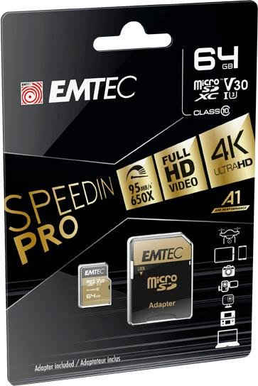EMTEC »microSD UHS-I U3 V30 SpeedIN PRO« Speicherkarte (64 GB, UHS Class 1, 95 MB/s Lesegeschwindigkeit)
