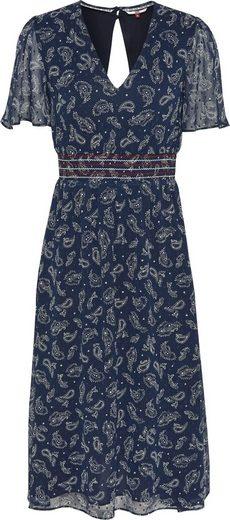 TOMMY JEANS Blusenkleid »TJW OPEN BACK DRESS« mit allover Paisley-Print & Smokpasse