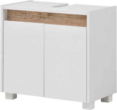 Schildmeyer Waschbeckenunterschrank »Cosmo« Höhe 54,6 cm, Badezimmerschrank mit griffloser Optik, Blende im modernen Wildeiche-Look, Ausschnitt für Abwasserleitung