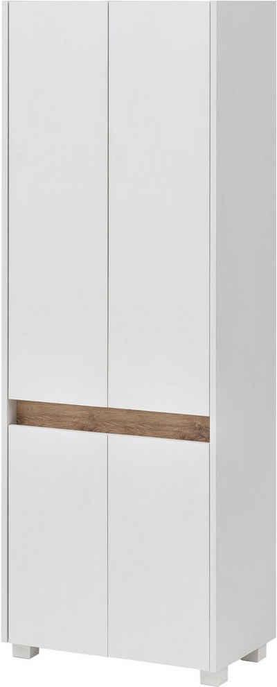 Schildmeyer Hochschrank »Cosmo« Breite 57 cm, Badezimmerschrank mit griffloser Optik, Blende im modernen Wildeiche-Look, praktischer Stauraum durch mehrere Einlegeböden