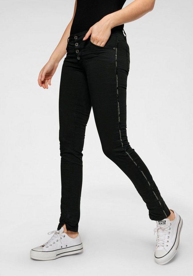 please jeans -  Röhrenhose »P90« Mit Glitzer- seitlichen Gallonstreifen