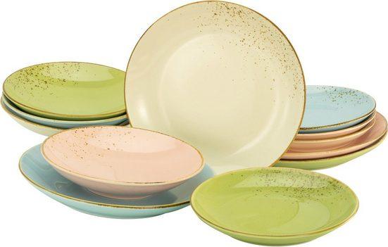 CreaTable Tafelservice »NATURE COLLECTION Pastell« (12-tlg), Steinzeug, Pastelltöne