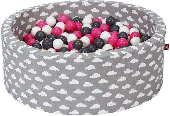 Knorrtoys® Bällebad »Soft, Grey white clouds«, mit 300 Bällen creme/grey/rose; Made in Europe
