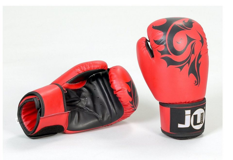 Boxhandschuhe, Ju-Sports, »CRAZY 12 oz« (1 Paar) in rot/Flammen schwarz