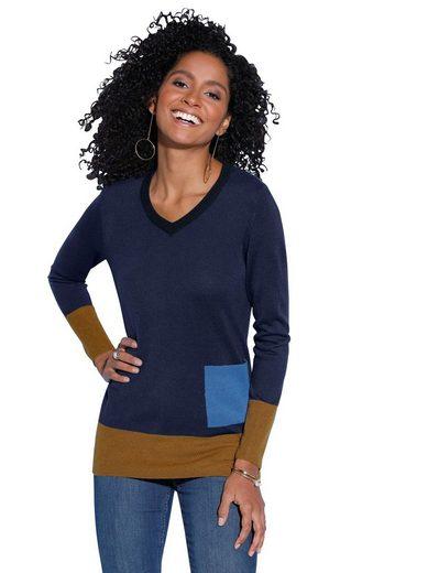 Classic Basics Pullover im modernen Colour-Blocking-Dessin