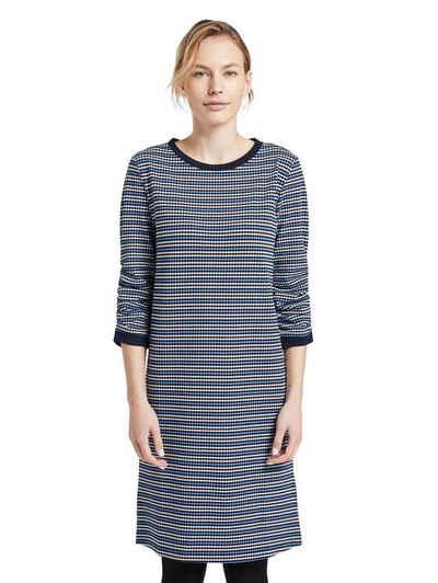 Tom Tailor geblümtes 3//4 Arm Herbst-Kleid Freizeit-Kleid Trend Große Größen Blau