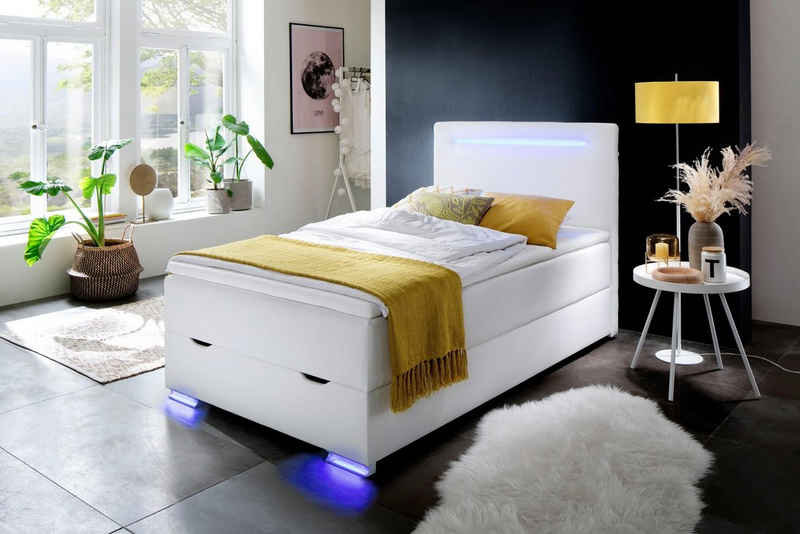 meise.möbel Boxspringbett, mit LED-Beleuchtung, Bettkasten, USB-Anschluss und Topper