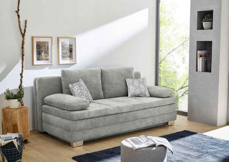 INOSIGN Schlafsofa, mit Bettfunktion und Bettkasten, als Dauerschläfer geeignet, mit hervorragendem Sitz- und Liegekomfort, mit fest vernähtem Kaltschaumtopper