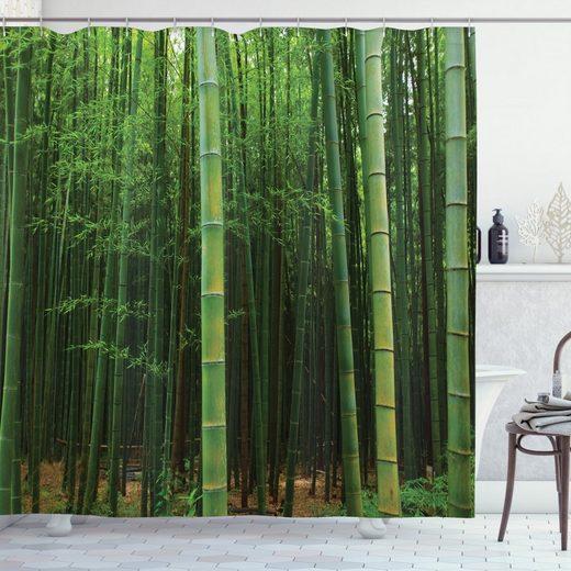 Abakuhaus Duschvorhang »Moderner Digitaldruck mit 12 Haken auf Stoff Wasser Resistent« Breite 175 cm, Höhe 180 cm, Grün Exotische Bambus-Wald