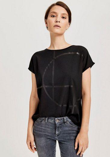 OPUS Blusenshirt »Seomi« vorn Web, hinten elastischer Single Jersey