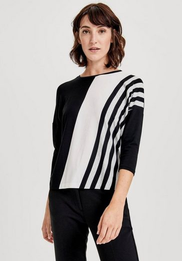OPUS 3/4-Arm-Shirt »Supala« mit modischem, diagonalem Print vorne