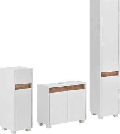 Schildmeyer Badmöbel-Set »Cosmo«, (Set, 3-St), aus Unterschrank, Waschbeckenunterschrank und Hochschrank, grifflose Optik, Blende im modernen Wildeiche-Look, Badezimmerschränke mit wechselbaren Türanschlägen