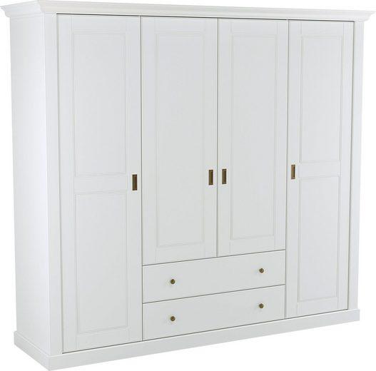 Home affaire Garderobenschrank »Clemence« aus teilmassivem, pflegeleichten Holz, mit vielen Stauraummöglichkeiten, Breite 193 cm