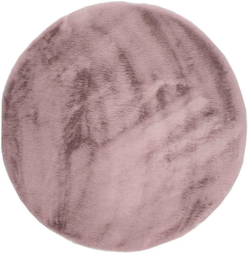 Fellteppich »Roger«, Dekowe, rund, Höhe 20 mm, Kunstfell, Kaninchenfell-Haptik, ein echter Kuschelteppich, Wohnzimmer