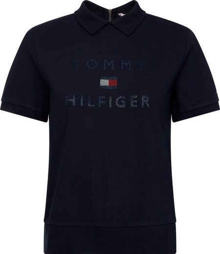 TOMMY HILFIGER Poloshirt »TIARA RELAXED BLING POLO SS« Glitzerdetails