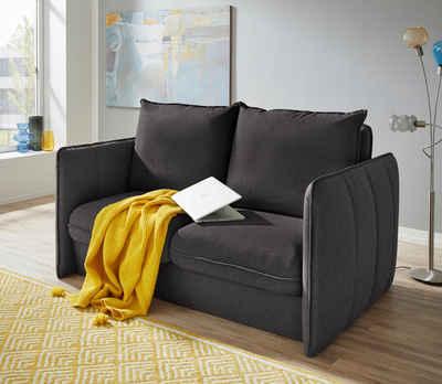 INOSIGN Polstergarnitur »Tiny Mike«, (3-tlg), Verwandlungsofa: 2 Hocker im Sofa integriert, können separat gestellt werden, mit Keder und feiner Steppung, Sitzbreite 140 cm