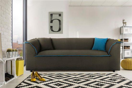 INOSIGN 3-Sitzer »Porto«, mit großem Keder, der innen farblich abgesetzt ist, in 2 Bezugsqualitäten und vielen Farben
