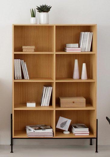 OTTO products Regal »Ellen«, aus furnierter Eiche, mit acht offenen Fächern, mit 4-Fuß-Gestell