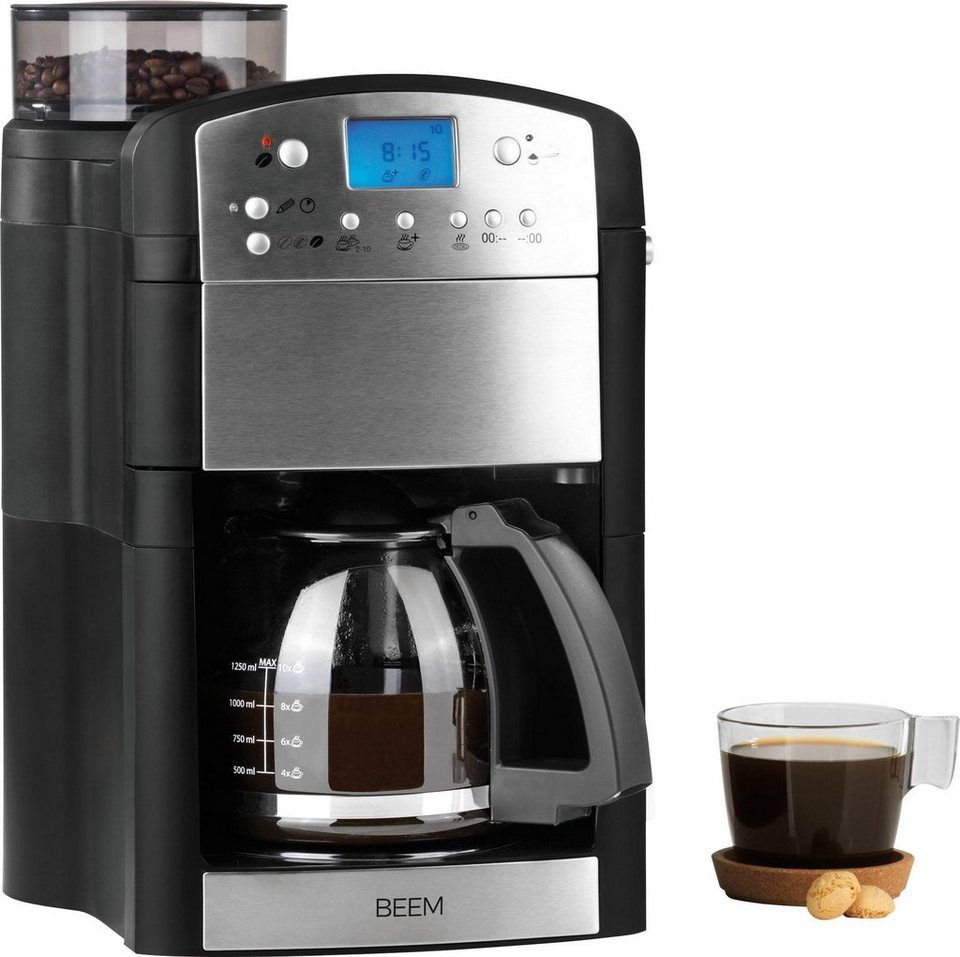 beem kaffeemaschine mit mahlwerk fresh aroma perfect thermostar 1 25l kaffeekanne goldfarbener